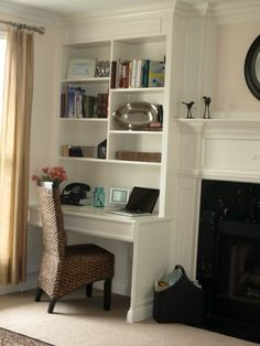 built in desk next to fireplace with bookshelves - this is what I want!! Would it suit alcove near bay window...