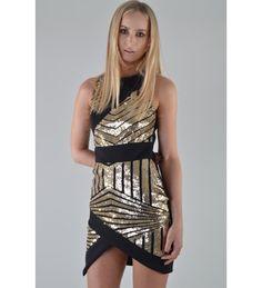 ecc5e82de39 Lovemystyle Chevron Gold Sequin Bodycon Dress Gold Sequins