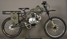 The Motoped Survival Bike - fitted with a crossbow, tomahawk, shovel, knives and more....