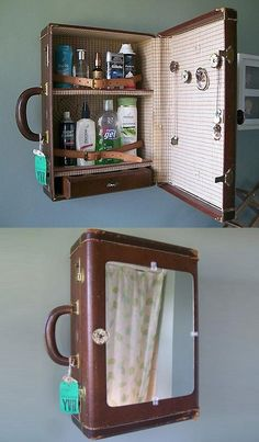 13 clever ideas to decorate your home with vintage suitcases Postris - UPCYCLING. - 13 clever ideas to decorate your home with vintage suitcases Postris – UPCYCLING IDEAS – 13 cl - Diy Bathroom, Bathroom Storage, Bathroom Medicine Cabinet, Medicine Cabinets, Bathroom Vintage, Bathroom Ideas, Bathroom Pink, Bathroom Small, Bathroom Cabinets