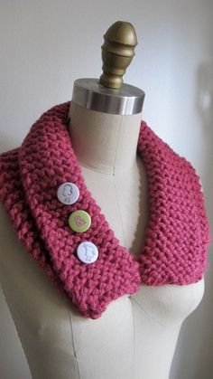Pink Knitted Collar by EastRiverTrading on Etsy, $15.00