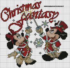 schema punto croce topolino e minnie natalizi