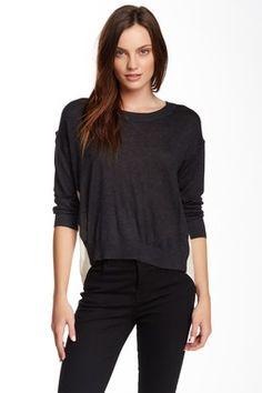 Drop Shoulder Silk Contrast Sweater