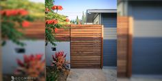 Emphasizing the wooden element in this landscape, a horizontal Redwood gate was added to further boost this style.