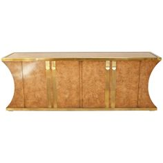 Mastercraft Burl and Brass Credenza | From a unique collection of antique and modern credenzas at http://www.1stdibs.com/furniture/storage-case-pieces/credenzas/