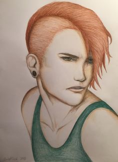 By GoldFinch :3  Male, portrait, face, head, drawing, colour pencil, art