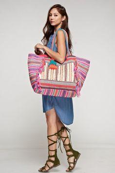Bohemian Artisan Feliz Tassel Tote Bag MSRP: $115.00 Oversized, vibrantly colored, multi-pattern tote bag with multi-colored fringe trim, gold metallic accents,
