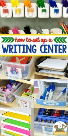 How to set up a writing center that your kids will love! Tips for creating a fun and engaging writing center in your preschool or pre-k classroom. writing Writing Center for Preschool and Pre-K Preschool Set Up, Preschool Classroom Setup, Creative Curriculum Preschool, Writing Center Kindergarten, Kindergarten Centers, Preschool Learning Centers, Art Center Preschool, Preschool Rooms, Preschool Projects
