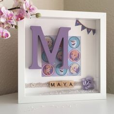 Frozen Inspired Girls Personalised Monogram Princess Picture Box Frame Gift for Bedroom, Wall decor, Home & Living, Wall Art, Sister Present by EvieGlitterSparkles on Etsy Box Frame Art, White Box Frame, Box Frames, Frames Ideas, Personalised Frames, Handmade Frames, Craft Gifts, Diy Gifts, Handmade Gifts