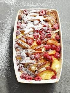 french toast strata with raspberries