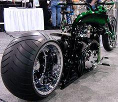 Mean and Green Custom Choppers, Custom Harleys, Custom Street Bikes, Custom Bikes, Big Dog Motorcycle, Bicycle Wheel, Bicycle Art, Car Racks, Chopper Bike