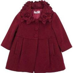 Monnalisa Baby Girls Red Wool Coat With Flower & Bow Collar
