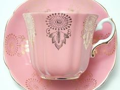 Royal Grafton Pink Gold Tea Cup and Saucer Vintage Fine Bone China Made in England