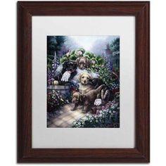 Trademark Fine Art 'Gardening Puppies' Canvas Art by Jenny Newland, White Matte, Wood Frame, Size: 11 x 14, Assorted