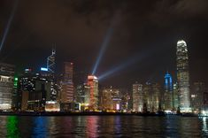 Hong Kong Skyline Lights Up.