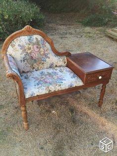 diy meuble de t l phone refait neuf tissu motif oiseaux peinture grise diy. Black Bedroom Furniture Sets. Home Design Ideas