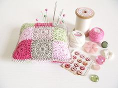 Phyllis, shabby chic patchwork crochet pincushion in pink, taupe & green with free gift wrapping -- MADE TO ORDER