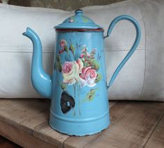 Antique French Floral Enamelware Coffee Pot Gorgeous Roses