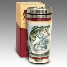 Largemouth Bass Fish Steel Travel Mug from the Steel Drinkware collection by American Expedition. Our very popular Stainless Steel Travel Mugs are designed Outdoor Supplies, Buy Used Cars, Largemouth Bass, Lodge Decor, Stainless Steel Travel Mug, Great Lakes, Bass Fishing, Cold, Mugs