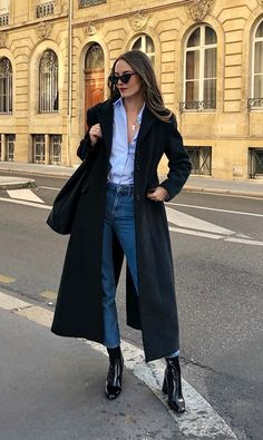 Blue shirt with buttons + jeans + long black coat + black ankle boots . Blue shirt with buttons + jeans + long black coat + black ankle boots , Blue button down shirt + jeans +. Mode Outfits, Casual Outfits, Fashion Outfits, Womens Fashion, Jackets Fashion, Dress Fashion, Dress Outfits, Dresses, Look Fashion