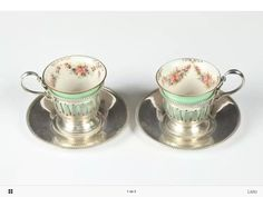 Sterling silver cup holder and saucer lenox Lot of 6