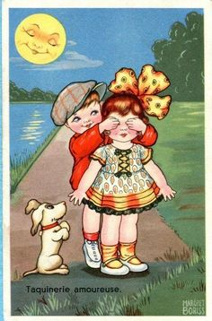 Vintage Illustration by Margret Boriss Vintage Dog, Vintage Children, Vintage Images, Art Children, Vintage Greeting Cards, Vintage Ephemera, Vintage Postcards, Valentines Art, Vintage Valentines