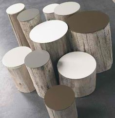 Stump tables.... what I will be doing with some of the wood from trees that came down on our property!