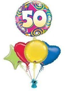 50 STARS SWIRLS Balloon King 50th Birthday Balloons