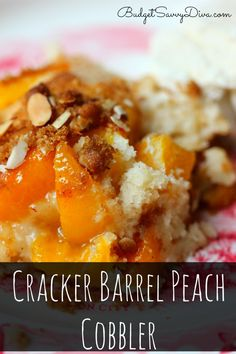 If you can bake a cake from a box mix you can make this recipe. Simple and Perfect. Cracker Barrel Peach Cobbler Recipe via Köstliche Desserts, Delicious Desserts, Dessert Recipes, Yummy Food, Drink Recipes, Southern Desserts, Fruit Dessert, Dessert Ideas, Yummy Recipes
