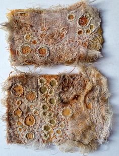 Julia Wright rust dyed fabric with hand stitch and wire - pretty techniques for hand cuffs or headbands or...