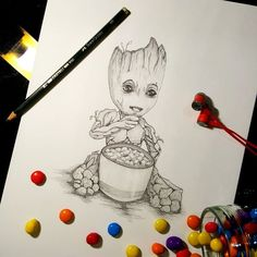"""Another Groot picture.I am now on the """"Groot train"""". We are Groot Galaxy Drawings, Marvel Drawings, Disney Drawings, Cute Drawings, Pencil Drawings, Baby Groot Drawing, Baby Drawing, Marvel Dc Movies, Marvel Art"""