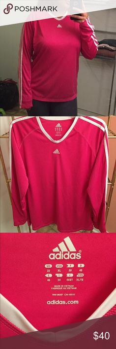 "Rare Adidas Shirt Rare Fuschia Pink Adidas Shirt. Size XL but fits like a size large. No signs of wear, in perfect condition. Pit to pit measurement is 23"" and collar to hem length is 23"" Make me an offer, I always counter! adidas Tops Tees - Long Sleeve"