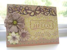 Hello Greeting Card  Pink and Yellow with by PaperImaginations