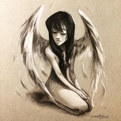 #angel #wings #angelwings #girl #kurtchangart #art #illustration #blackandwhite #feathers #smile #beauty #charcoaldrawing #charcoal #sketch #drawing #artistsoninstagram #artist #instaart #instagood #lighting