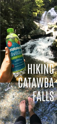 Looking for a scenic but easy hike near Asheville, NC? Try Catawba Falls! It's miles round trip with a beautiful waterfall to wade in halfway through. When I went, I made sure to bring Avitae Caffeinated Water for an energy boost! Catawba Falls, Coastal North Carolina, Waterfall Hikes, Beautiful Waterfalls, Blue Ridge Mountains, Asheville Nc, Great Restaurants, Round Trip, Hiking Trails