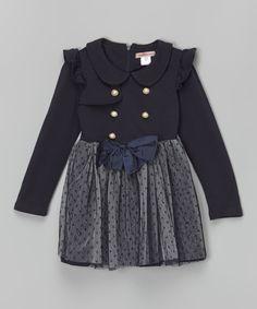 Another great find on #zulily! Navy Polka Dot Overlay Dress - Toddler & Girls by Paulinie #zulilyfinds