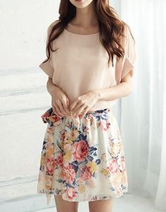 Floral Print Short Sleeves Scoop Neck Chiffon Retro Style Women's Dress, PINK, ONE SIZE in Print Dresses   DressLily.com