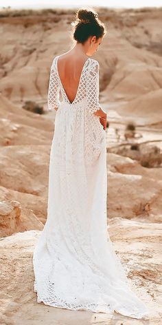 30 Beach Wedding Dresses Perfect For Destination Weddings ❤ beach wedding dresses straight v back lace long sleeves light and lace couture ❤ See more: http://www.weddingforward.com/beach-wedding-dresses/ #weddingforward #wedding #bride