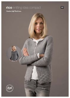 Sweater and Cardigan in Rico Creative Soft Wool Aran – 656 - Cardigan Stricken Ladies Cardigan Knitting Patterns, Beginner Knitting Patterns, Jumper Knitting Pattern, Christmas Knitting Patterns, Cardigan Pattern, Loom Knitting, Knit Patterns, Free Knitting, Knit Cardigan