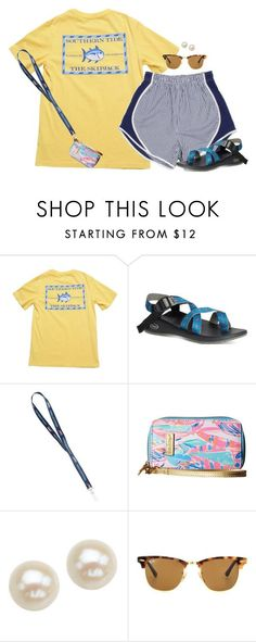 """""""Yellow and Navy"""" by aweaver-2 on Polyvore featuring Southern Tide, Lilly Pulitzer, Honora and Ray-Ban"""