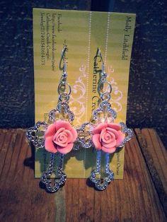 Catherine Creek Cowgirl Jewelry Rose and Cross Earrings