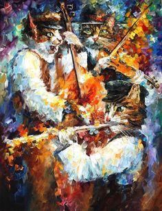 Jamming Cats 3 by Leonid Afremov by Leonidafremov