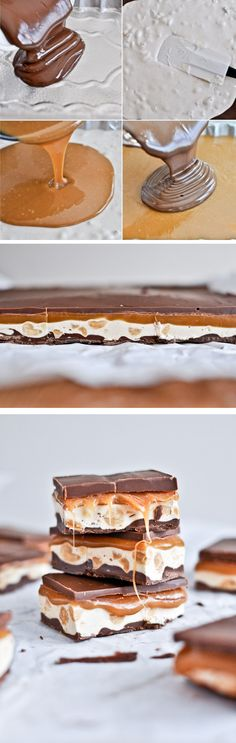 homemade snickers bars (Use Dark Chocolate and Vegan Evaporated Milk) Yummy Treats, Sweet Treats, Yummy Food, Just Desserts, Dessert Recipes, Candy Recipes, Homemade Snickers, Snickers Bars Recipe, Dessert Bars