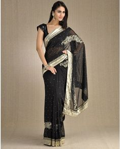 Sari in black and silver.
