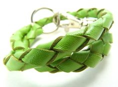 Silver Peacock - Extraordinary Handmade Attire for Hounds - Braided leather Tag collars