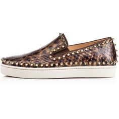 Christian Louboutin Pik Boat Woman's Flat ($1,395) ❤ liked on Polyvore featuring shoes, flats, bronze flats, snake skin flats, christian louboutin shoes, flat shoes and leopard slip on shoes