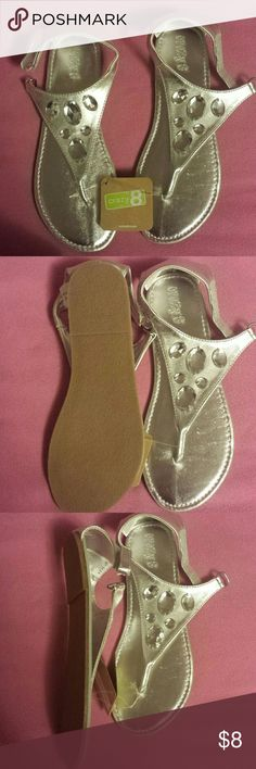 NWT Very Cute Rhinestoned Sandals size 4 Kid sized style for the summer crazy 8 Shoes Sandals & Flip Flops