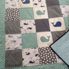 Baby quilt whales with cuddly back by Lovesewnseams on Etsy, $148.00