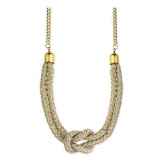 ZAD Cream & Goldtone Knotted Rope Necklace (415 RUB) ❤ liked on Polyvore featuring jewelry, necklaces, curb link necklace, rope necklace, rope knot necklace, gold tone jewelry and knot jewelry