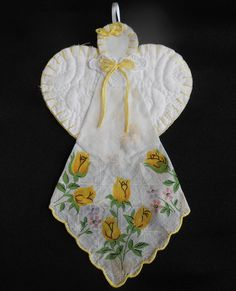 Vintage Hanky Angel Ornament Yellow Print by VintageBabyByKay